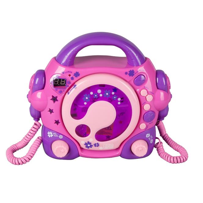 CD Player mit 2 Mikrofonen - pink, lila