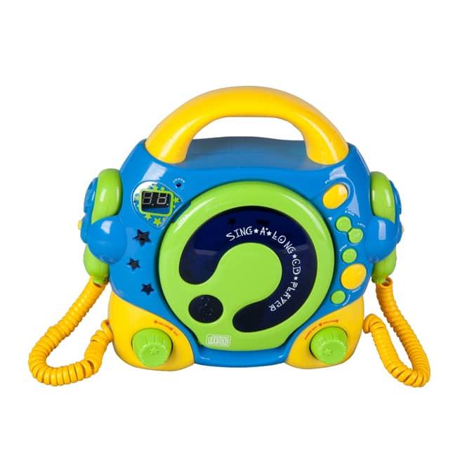 CD Player mit 2 Mikrofonen - blau, grün, gelb