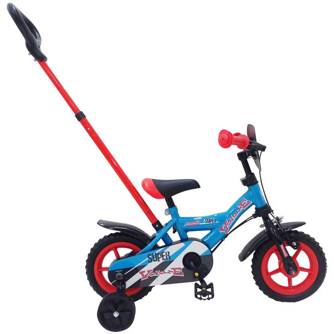 Fahrrad mit Schubstange - Volare Super rot/blau - 10 Zoll