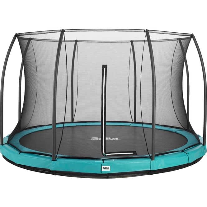 Salta - Rundes Bodentrampolin mit Netz - Comfort Edition Ground - Durchmesser: 396 cm - in grün