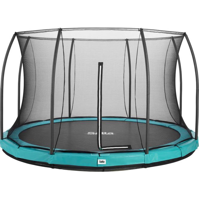 Salta - Rundes Bodentrampolin mit Netz - Comfort Edition Ground - Durchmesser: 427 cm - in grün