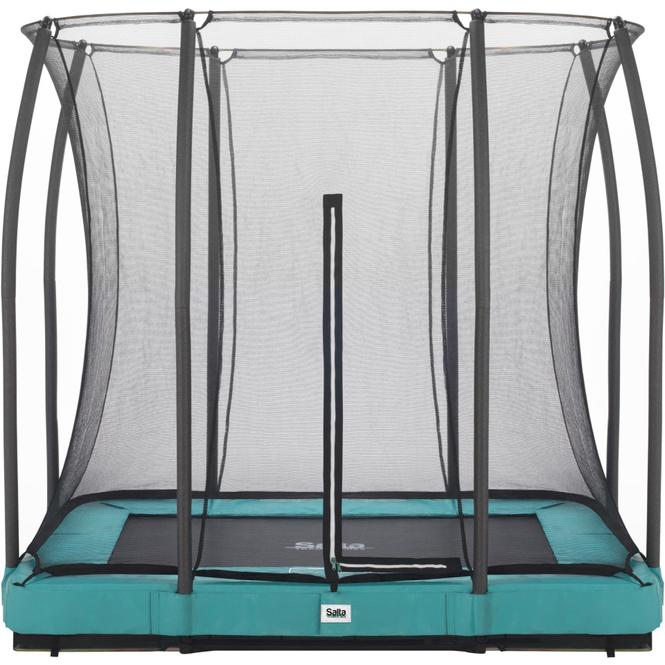 Salta - Rechteckiges Bodentrampolin mit Netz - Comfort Edition Ground - 153x214 cm - in grün