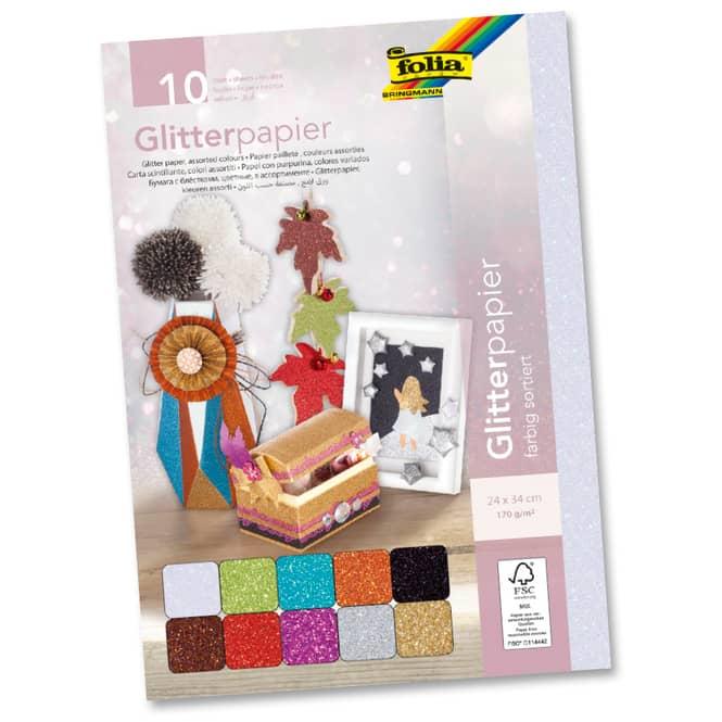 Glitterpapier - 10 Blatt