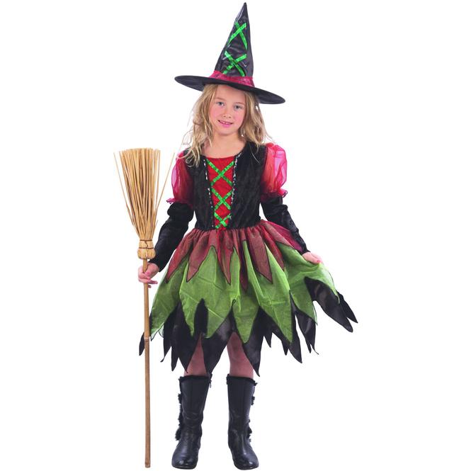 Kinder Kostüm Hexe grün, rot, schwarz