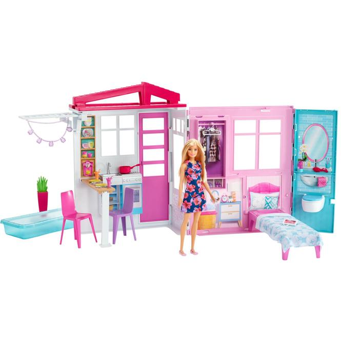 Barbie - Ferienhaus - mit Möbeln und Puppe