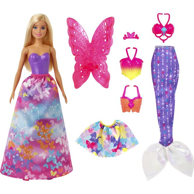 Barbie Dreamtopia - Barbie mit blonden Haaren und viel Zubehör im Schmetterling-Design