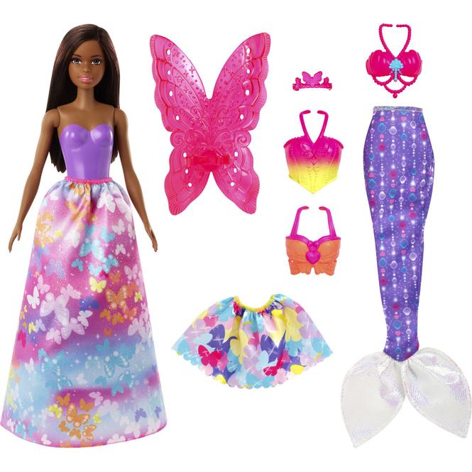 Barbie Dreamtopia - Barbie mit braunen Haaren und viel Zubehör im Schmetterling-Design