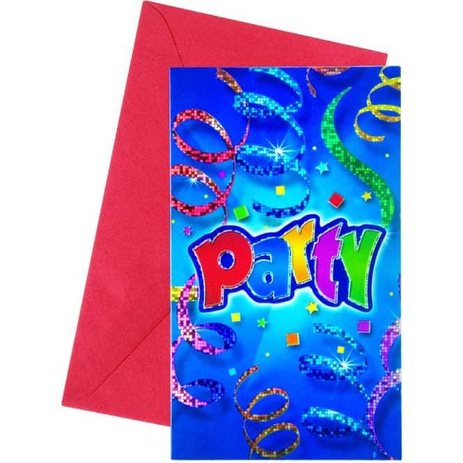 Einladungskarten Party blau 6 Stück Procos