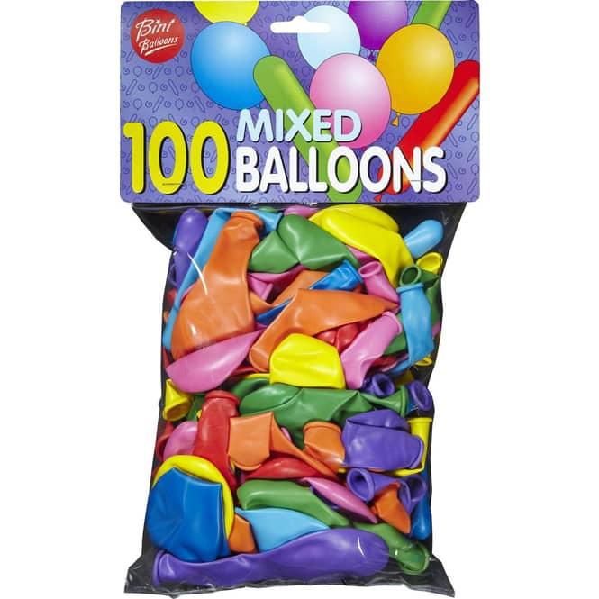 Luftballons - verschiedene Farben, Formen und Größen - 100 Stück