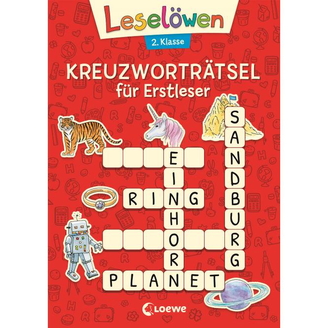 Leselöwen - Kreuzworträtsel für Erstleser - 2.Klasse