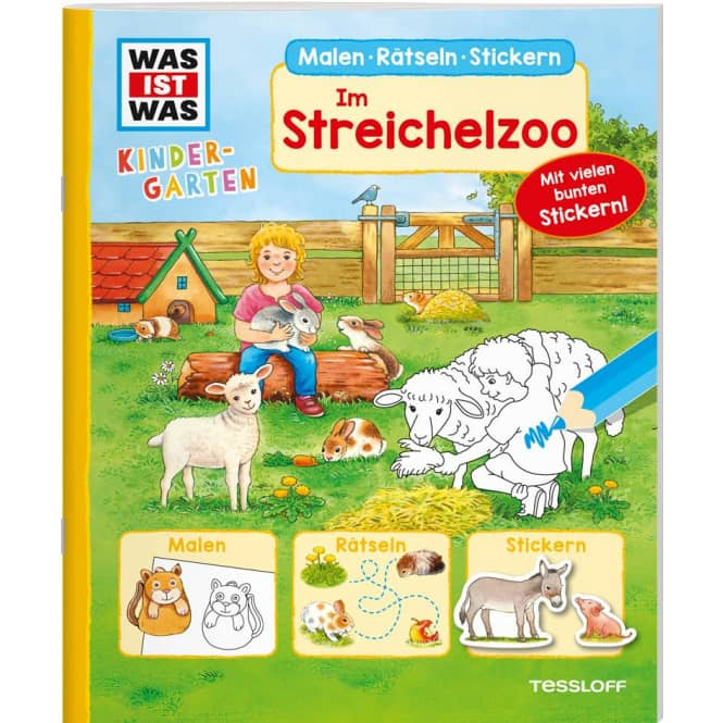 WAS IST WAS - Kindergarten - Malen Rätseln Stickern - Im Streichelzoo
