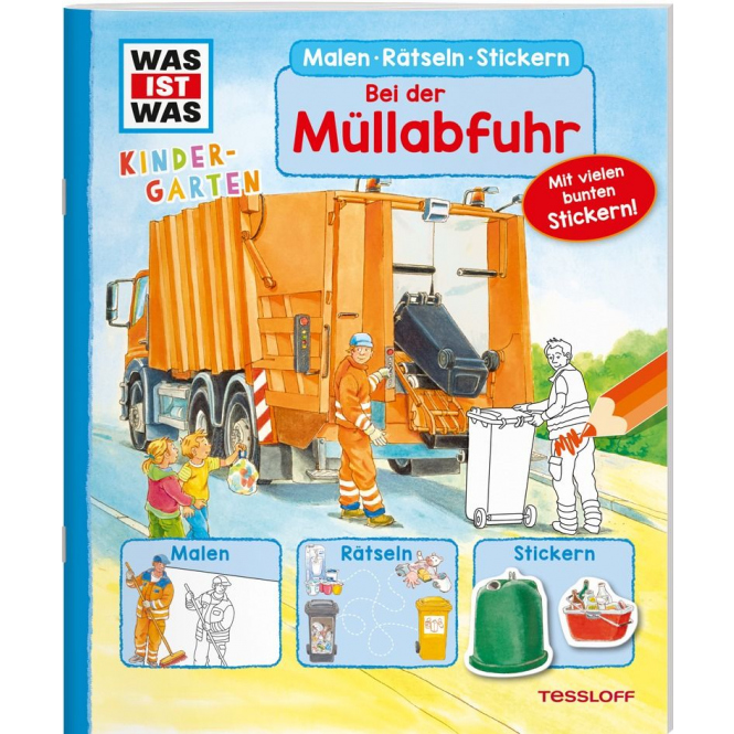 WAS IST WAS - Kindergarten - Bei der Müllabfuhr - Malen, Rätseln, Stickern