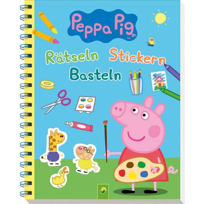 Peppa Wutz - Rätseln, Stickern, Basteln - Mit 4 farbigen Stickerseiten