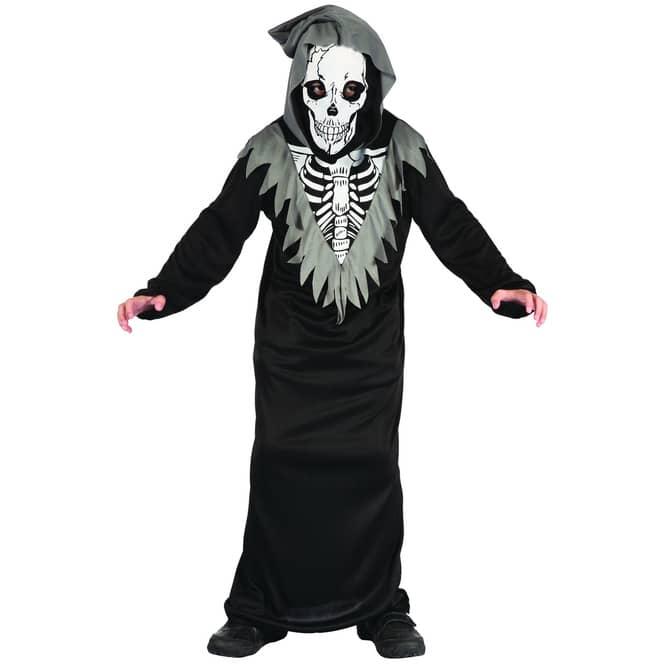 Kostüm Skelett mit Kapuzenmaske für Kinder