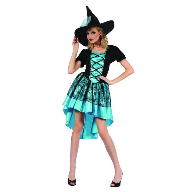 Kostüm Hexe türkis mit Hut für Erwachsene