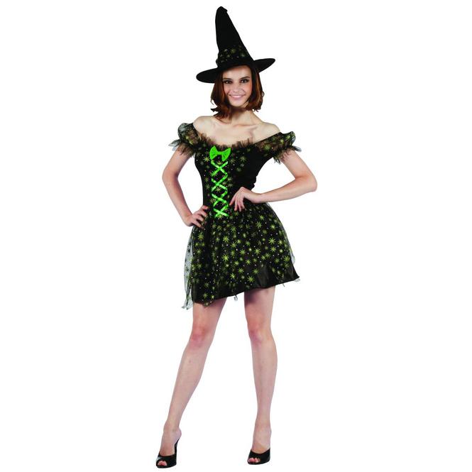 Hexe grün/schwarz - Kostüm für Erwachsene - in drei Größen erhältlich