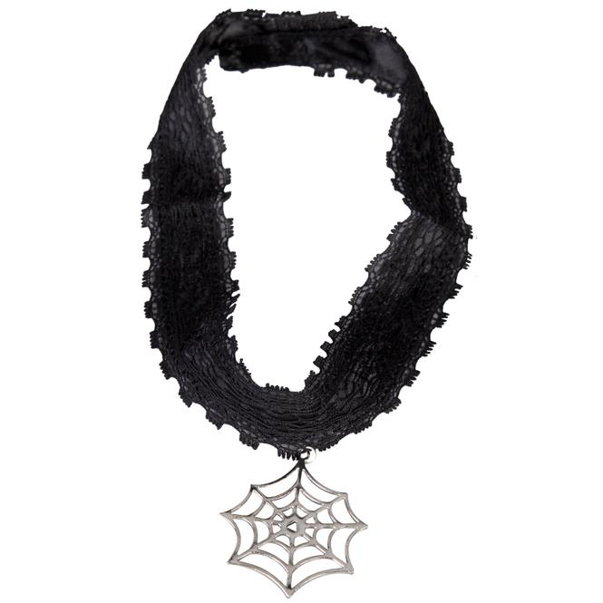 Faschingsschmuck - Halsband mit Spinnennetz