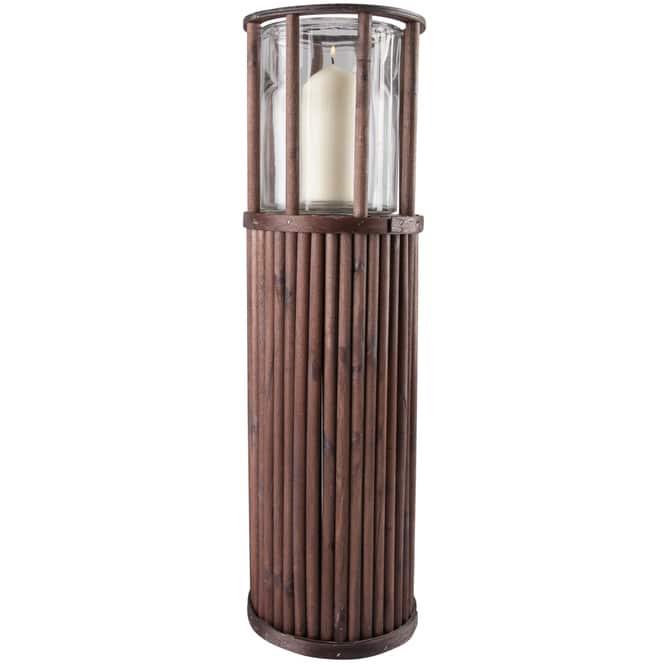Kerzenständer - aus Holz - ca. 18 x 18 x 58 cm - in braun