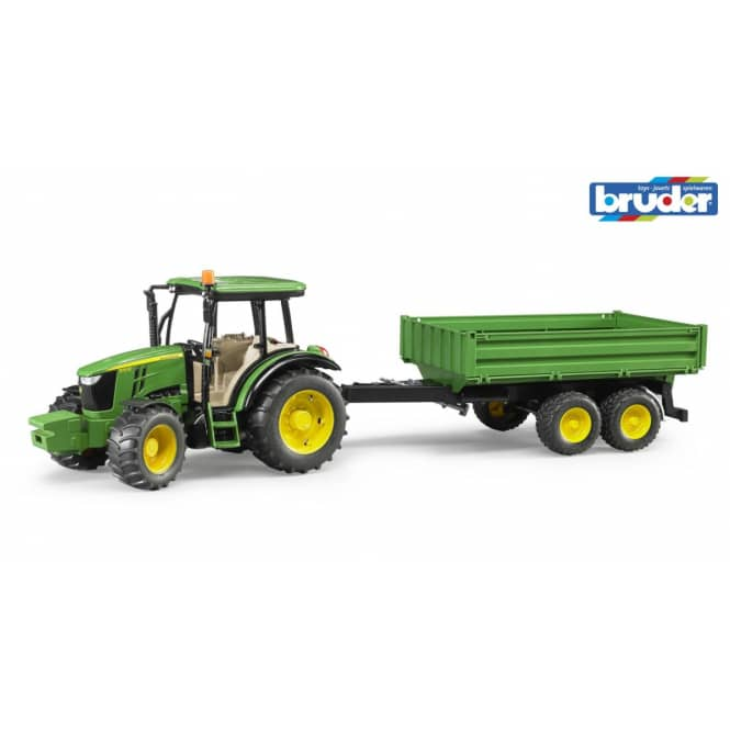 Bruder 2108 - Traktor John Deere 5115M mit Bordwandanhänger
