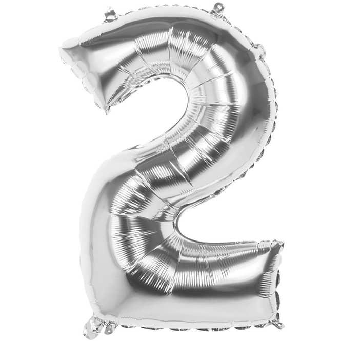 Folienballon - Silberne Zahl - 2 - zwei