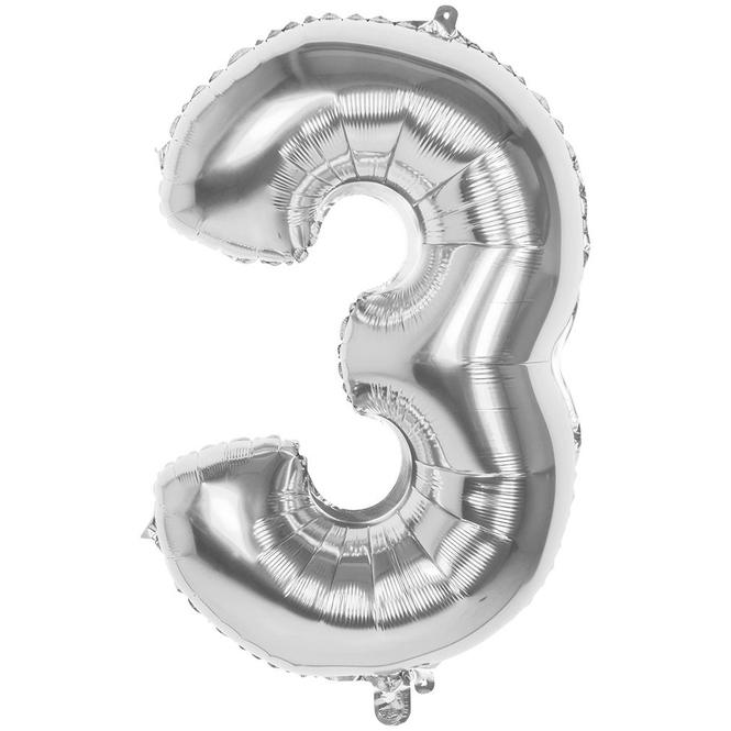 Folienballon - Silberne Zahl - 3 - drei