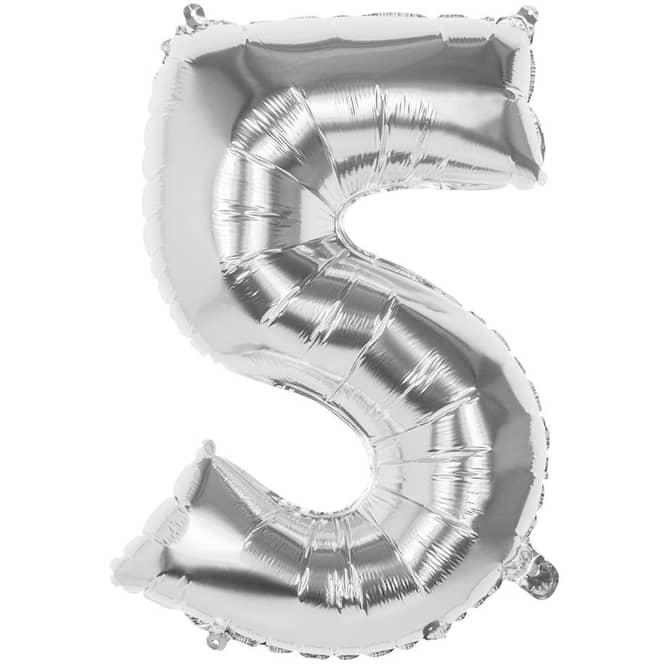 Folienballon - Silberne Zahl - 5 - fünf