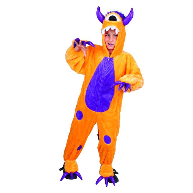 Kinder Kostüm Plüsch Monster, orange