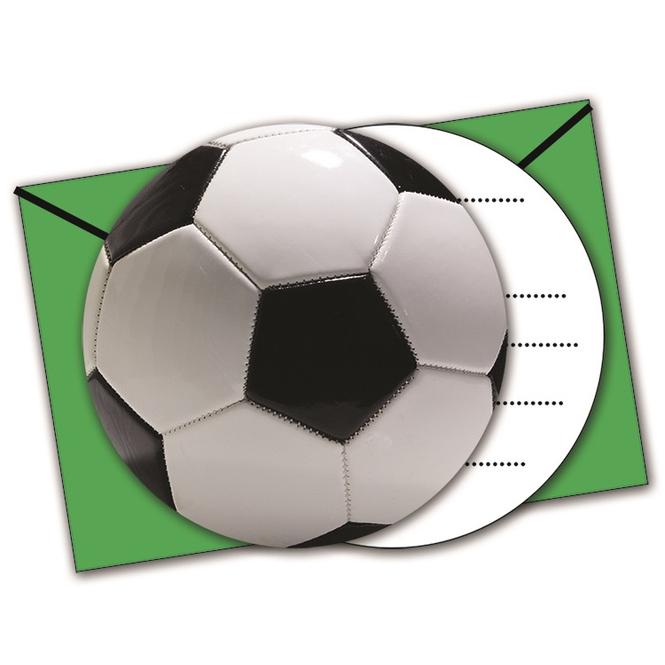 6 Einladungskarten mit Umschlägen - Fußball