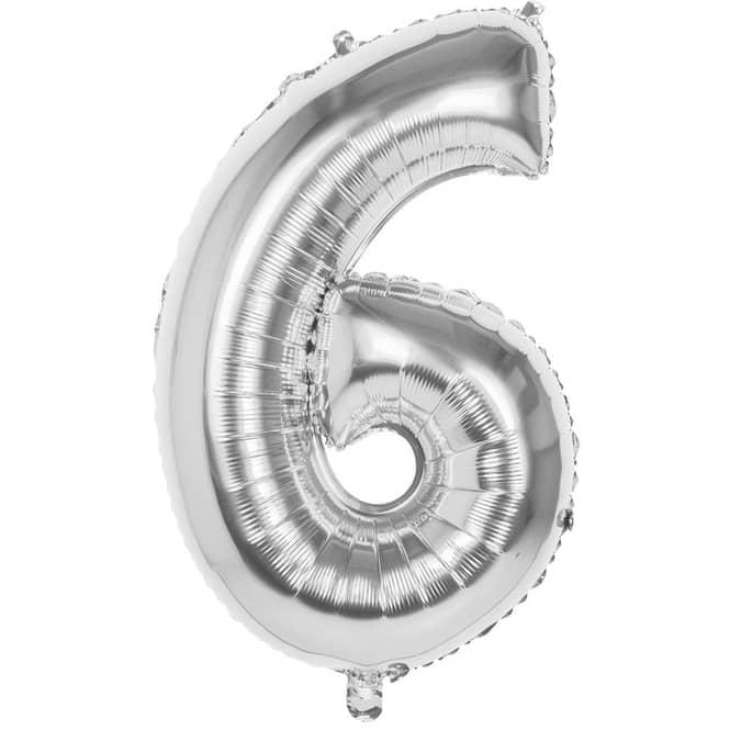 Folienballon - Silberne Zahl - 6 - sechs