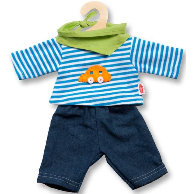 Puppenkleidung - Jeans und Ringelshirt Größe 28-35cm