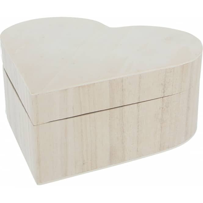 Dekokästchen - Herz - aus Holz - natur - 20 x 19 x 8 cm