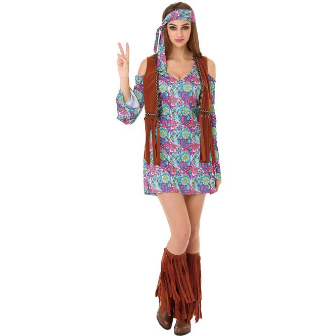 Kostüm - Hippie - für Erwachsene - 3-teilig - Größe 40/42