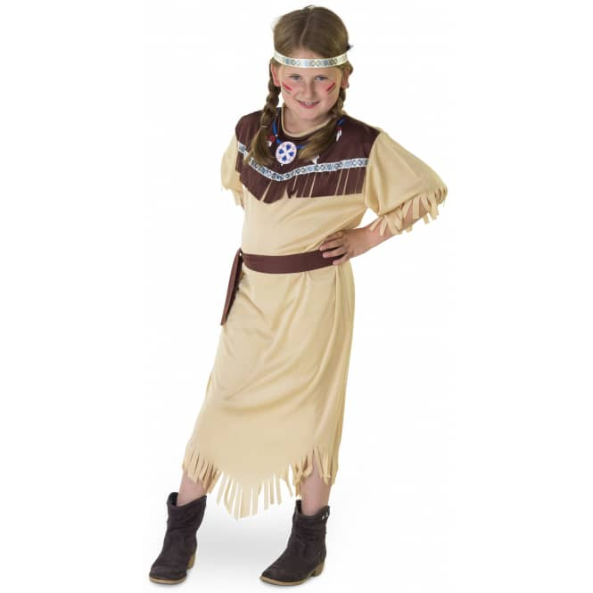 Kostüm - Indianermädchen - für Kinder - 3-teilig - Größe 110/116