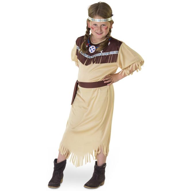 Kostüm - Indianermädchen - für Kinder - 3-teilig - Größe 122/128