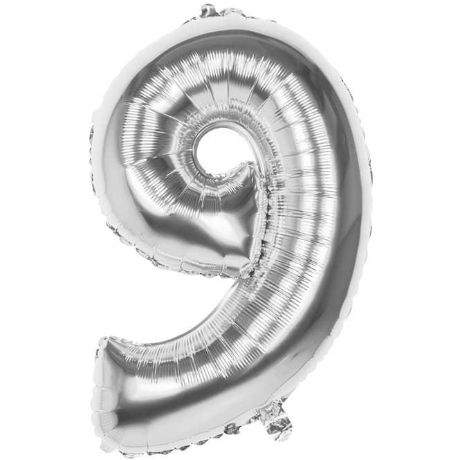 Folienballon - Silberne Zahl - 9 - neun