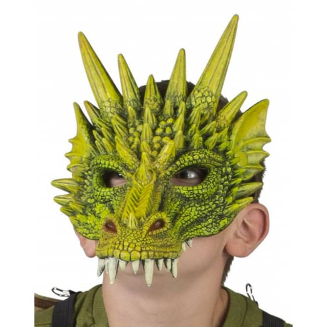 Halloweenmaske - Drache - für Kinder - grün