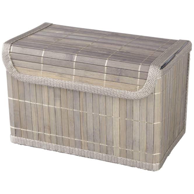 Aufbewahrungskiste - aus Bambus - grau - in klein