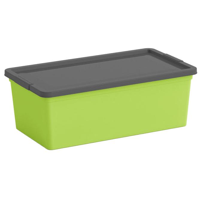 Ordnungsbox mit Deckel - grün/grau - XS