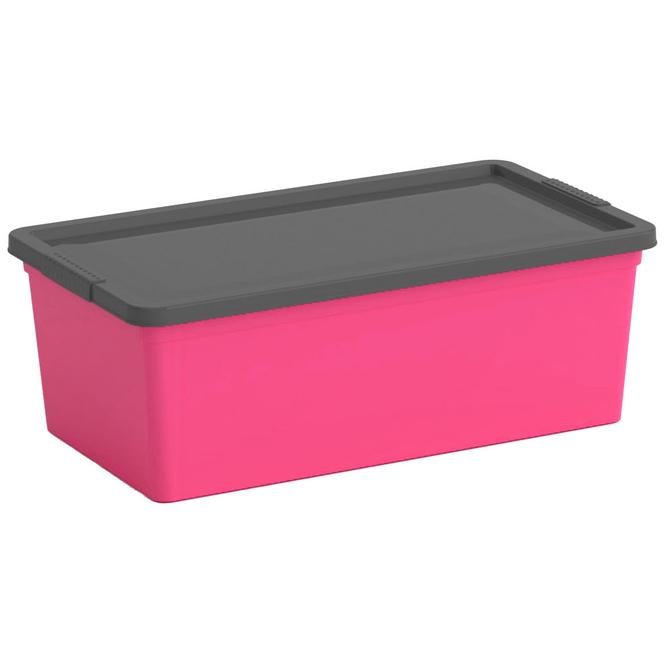 Ordnungsbox mit Deckel - pink/grau - XS