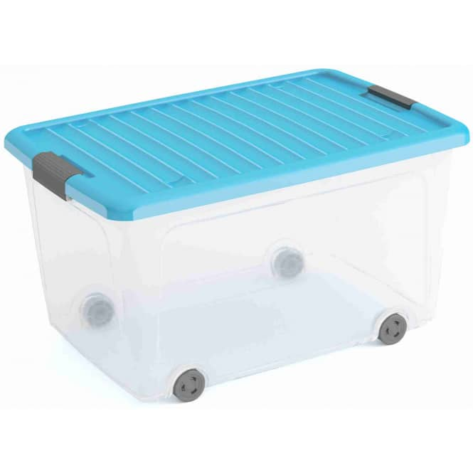 Rollenbox mit Deckel - L - transparent/blau