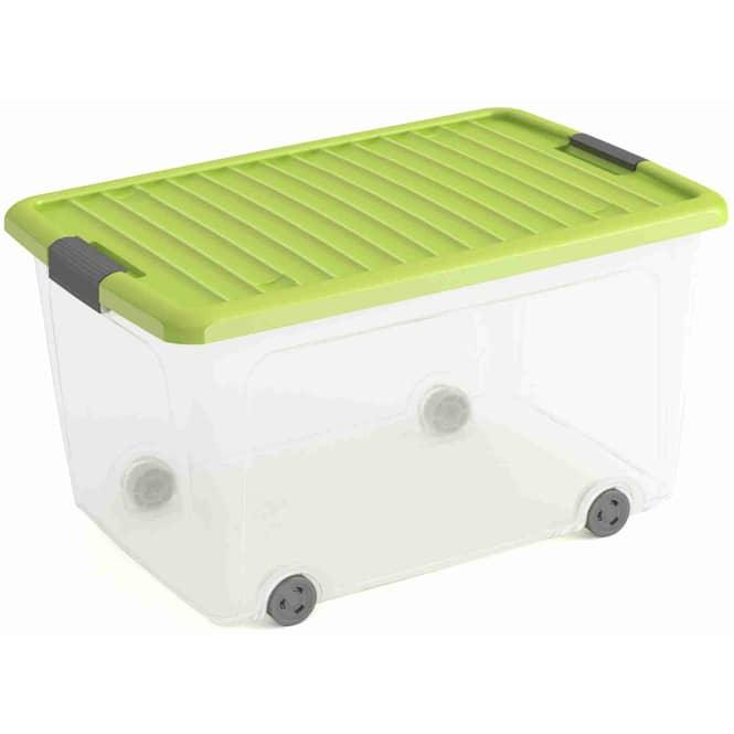 Rollenbox mit Deckel - L - transparent/grün