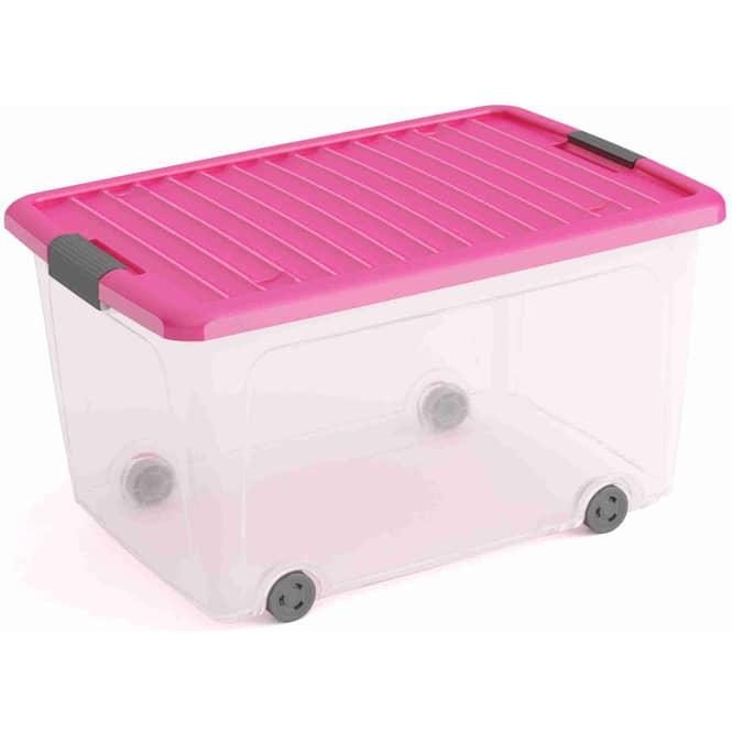 Rollenbox mit Deckel - L - transparent/pink