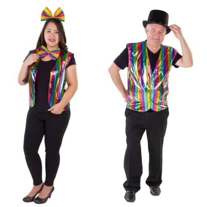 Regenbogen-Weste - aus Polyester - Einheitsgröße für Damen und Herren