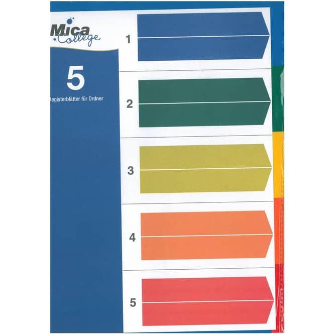 5 Registerblätter für Ordner - A4 - Mica College