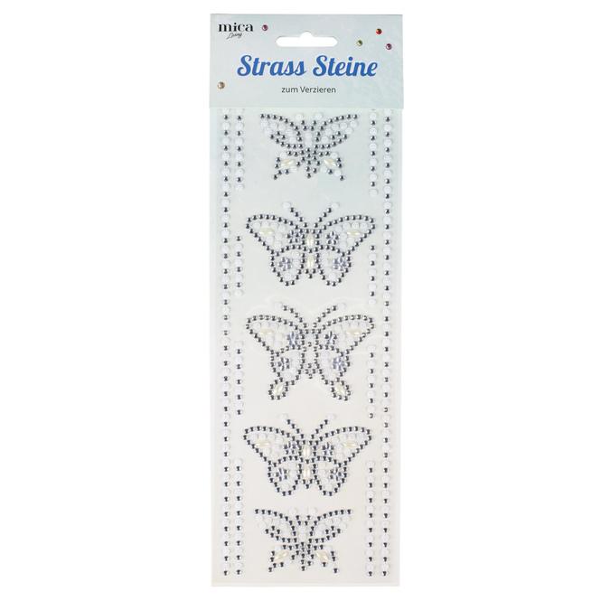 Mica Living - Strass Sticker Schmetterling - weiß