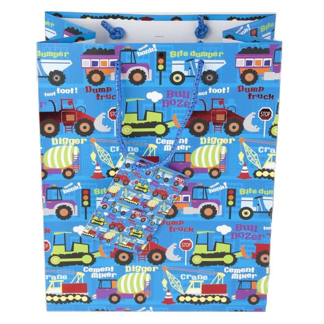 Geschenktasche - Baufahrzeuge - 18 x 10 x 23 cm