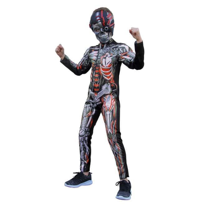 Kostüm - Skelett-Cyborg - für Kinder - 2-teilig - verschiedene Größen