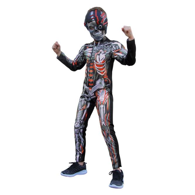 Kostüm - Skelett-Cyborg - für Kinder - 2-teilig - Größe 122/128