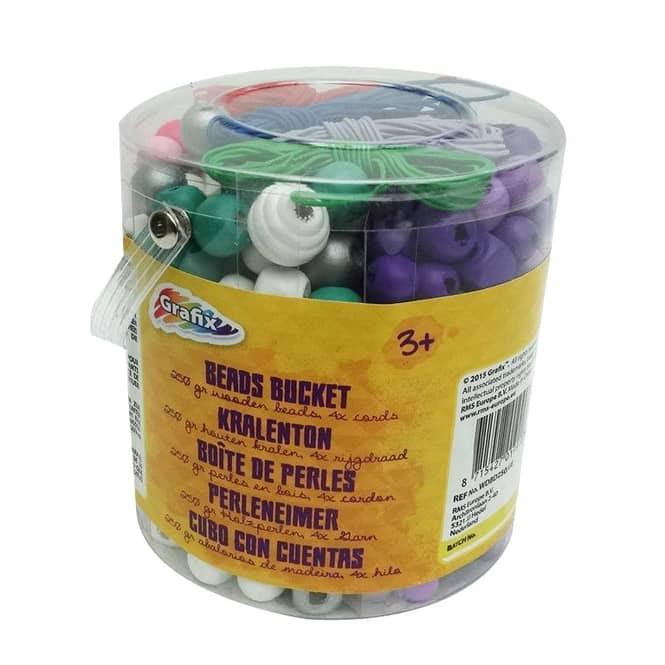 Holz-Perlen-Set in Eimer - 250 Perlen und 4 Fäden