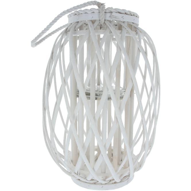 Windlicht - aus weißer Weide - ca. 17 x 41 cm